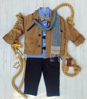 Κουστούμι κοτλέ καμηλό-μπλέ