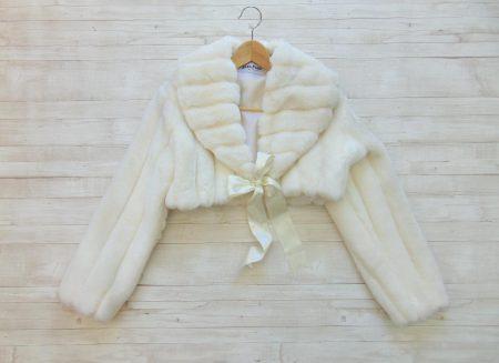 Μπολερό μανίκι κοντό λευκό βιζόν Sara s Collection c8c145a0fd0