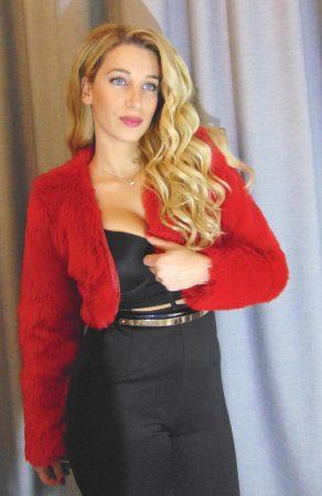Μπολερό γούνινο οικολογικό μανίκι κόκκινο Sara s Collection f86b8cf1916