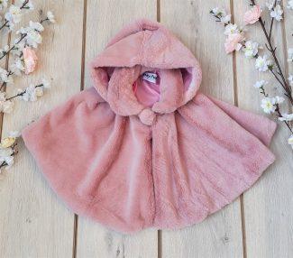 παιδική κάπα γούνινη ρόζ