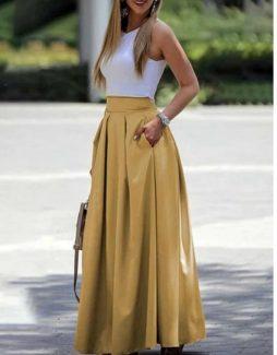 σατέν φούστα μουσταρδί σατέν μάξι φούστα κίτρινι σατέν φουστα