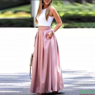 ρόζ σατέν φούστα μάξυ σάπιο μήλο φούστα σατέν μάξι φούστα ροδί μάξυ σατέν
