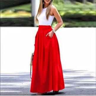 σατέν κόκκινη φούστα μάξι σατέν φούστα μάξυ κόκκινο