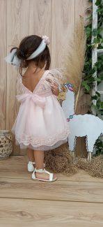 βαπτιστικα ρόζ φόρεμα βάπτισης ρόζ φορεματακι με πούπουλα ρόζ βαπτιστικό με πούπουλα φόρεμα
